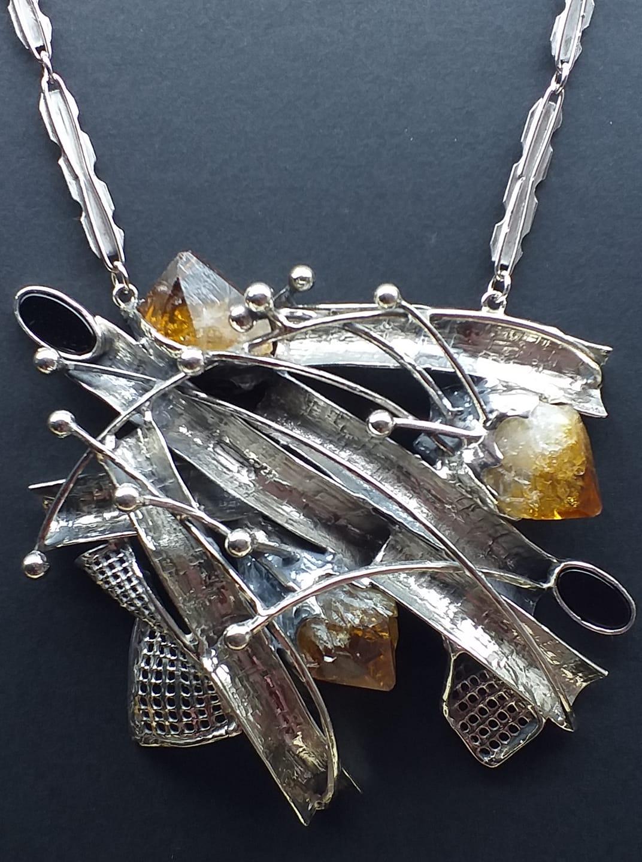Alberto Gordillo, halssieraad, zilver, citrien, onyx