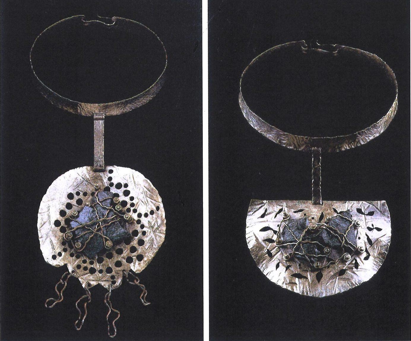 Alberto Gordillo, halssieraden, 1958, messing, koper, schroeven, marmer, schroeven