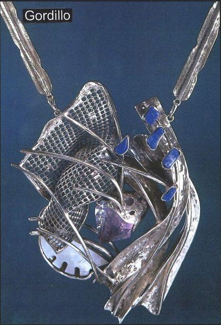 Alberto Gordillo, halssieraad, 1969, zilver, lapis lazuli, amethist, parelmoer