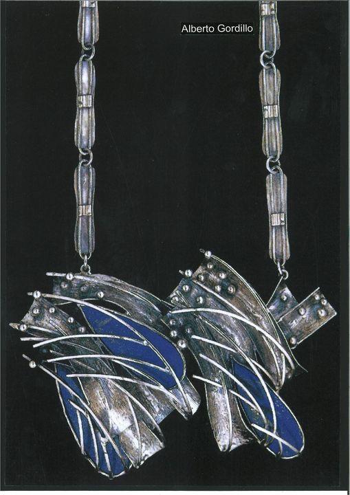Alberto Gordillo, halssieraad, 1960-1969, zilver, lapis lazuli