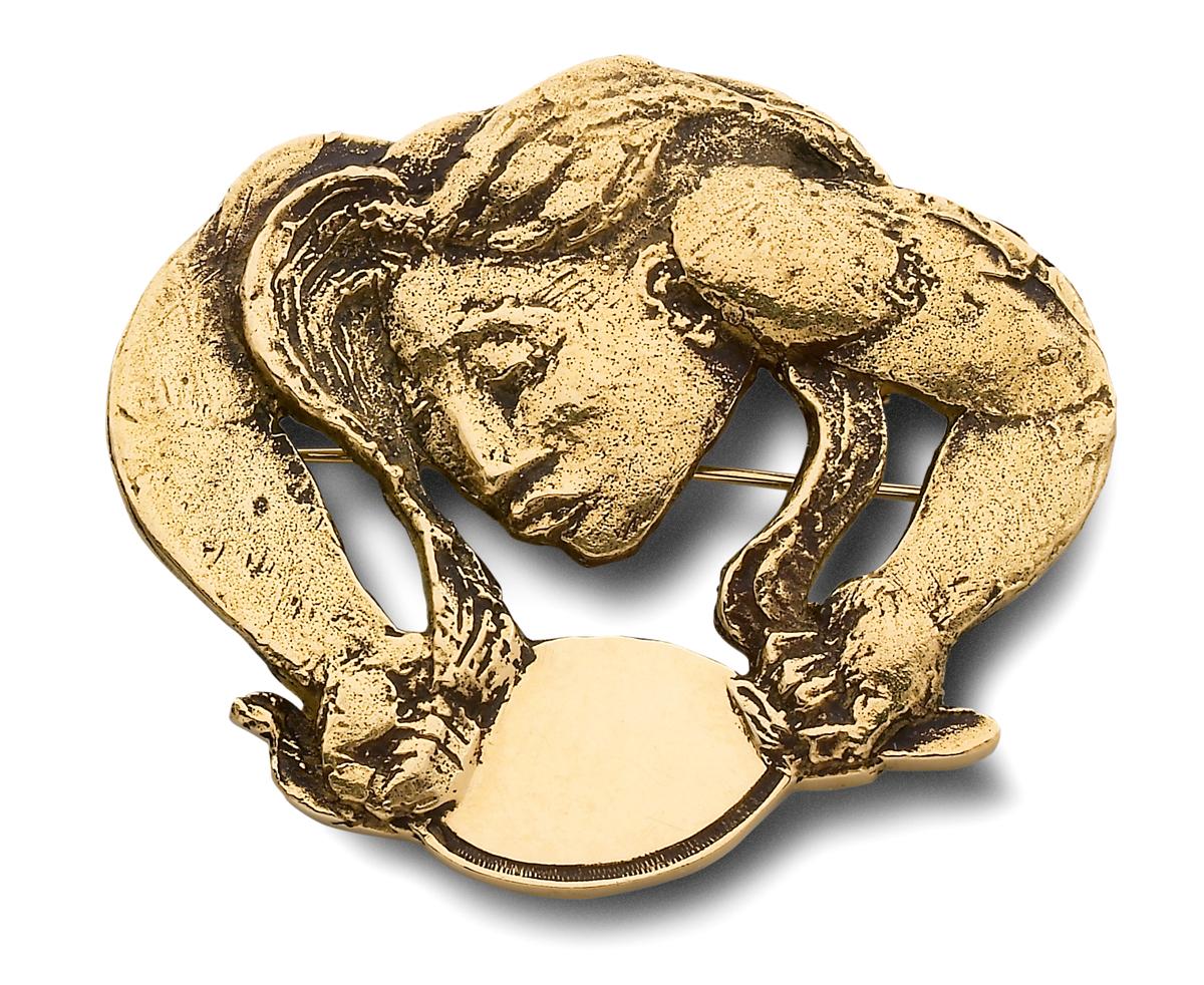 Manolo Hugué, Venus met spiegel, broche, 1934-1935. Particuliere collectie, Parijs, goud