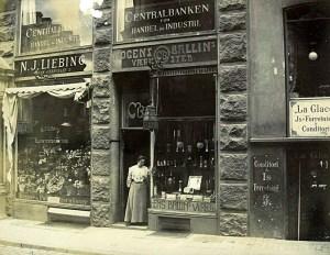 Værksted en winkel Mogens Ballin in Kopenhagen. 1899-1907, gevel, exterieur, etalage