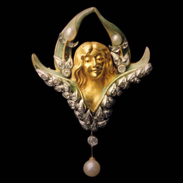 Louis Aucoc, Flora, hanger/broche, goud, email, diamanten, parels