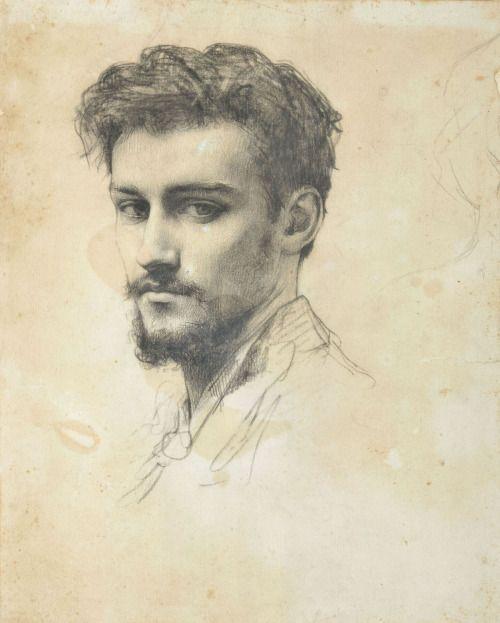 Raphaël Collin, Portret van Paul Grandhomme, tekening, voor 1890, papier