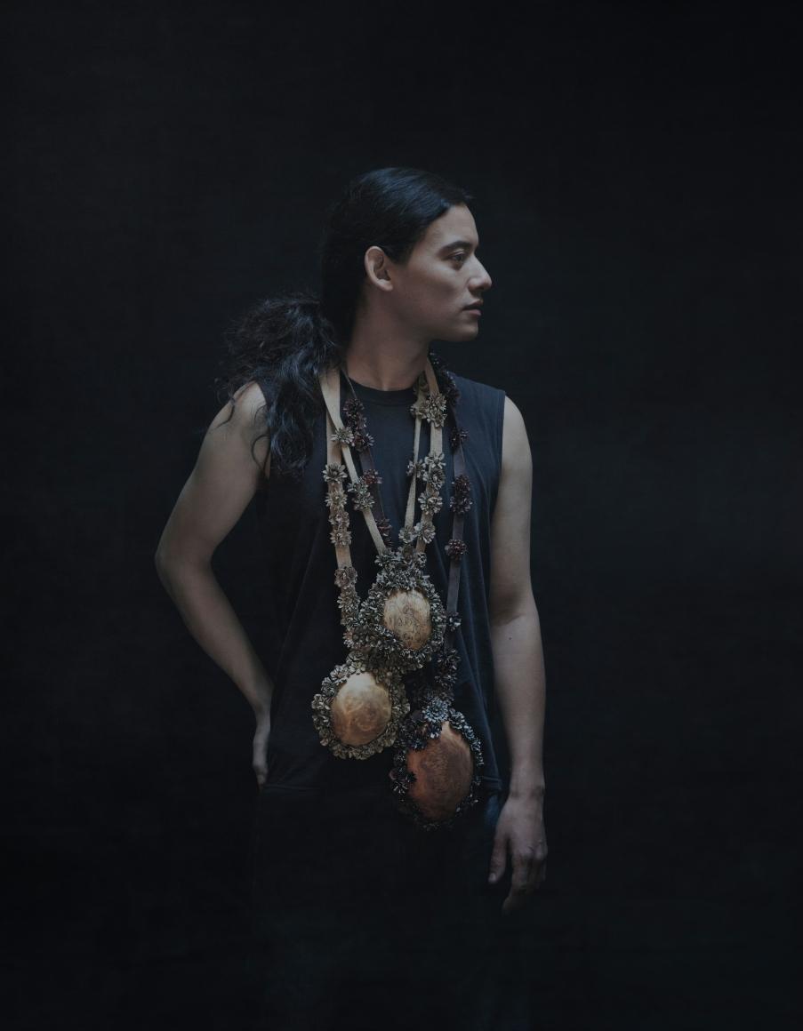 Hanna Hedman, North, halssieraden, 2014, boomwortel, schapenvacht, messing, verf