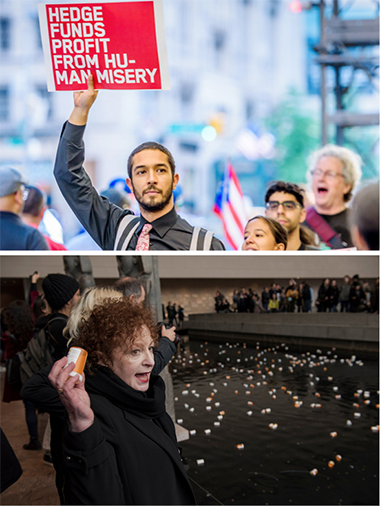 Two photos of March 2018 protest