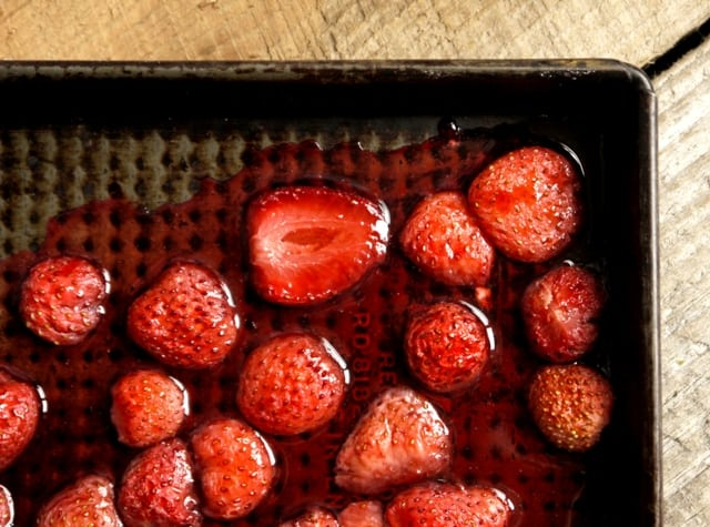 Pan of Hot Roast Strawberries