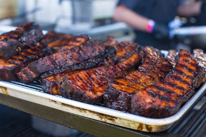 A tray of slow cooked ribs