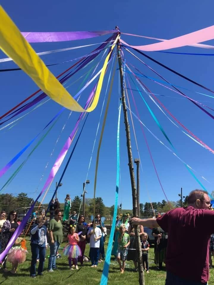 A fun perspective shot of the maypole from our Beltaine ritual during the 2019 May Day Faerie Festival!