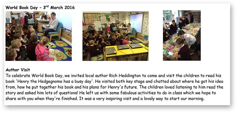 Henry the Hedgegnome - World Book Day - School visit