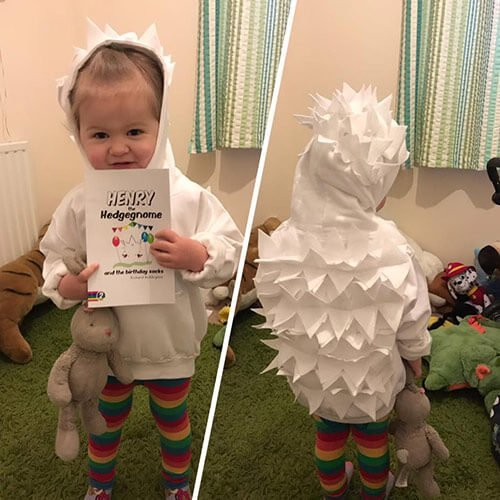 Children's books | Eira dressed as Henry the Hedgegnome - World Book Day 2017