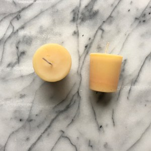 Twp beeswax votive candles