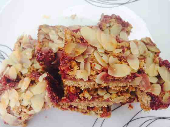 Breakfast peanut butter, crumble  and strawberry chia jam bars