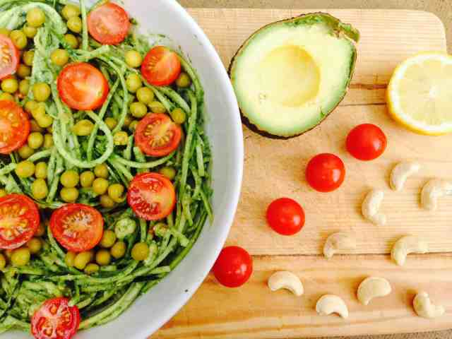 zoodles with avocado and spinach sauce
