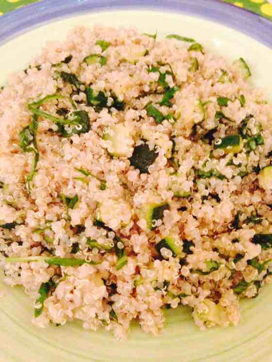 Courgette and spinach quinoa pilaf