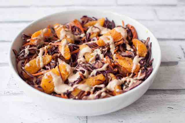 Red Cabbage and Carrot Salad with an insane peanut butter dressing 6
