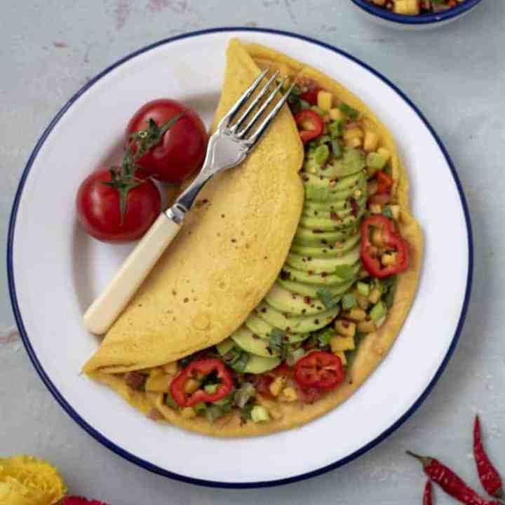 Chickpea Omelette with Avocado and Mango Salsa recipe