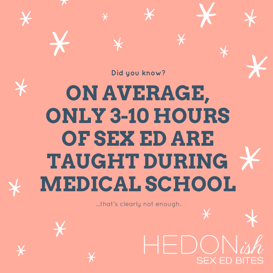On average, only 3-10 hours of sex ed is taught in medical school
