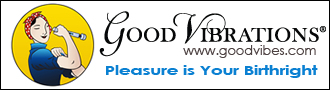 "Good Vibrations logo. Illustration of a woman on the left with the ""Good vibrations, www.goodvibes.com, Pleasure is your birthright"" written on the right."