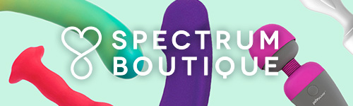 The words Spectrum Boutique on a light teal background covered in sex toys