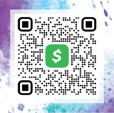 "Watercolor background with the CashApp QR Code. Support our work by donating to ""$Hedonish"" through the CashApp"