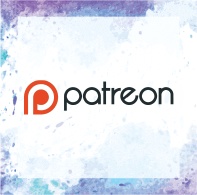 Support Me on Patreon [Patreon Logo on a watercolor background] - Hedonish.com