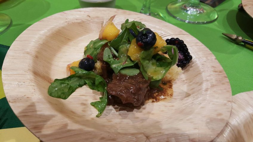Jamaican Coffee Braised Beef Brisket, Chile-Mango Corn Cake, Mango-Blackberry-Citrus Salsa miami mango festival brunch