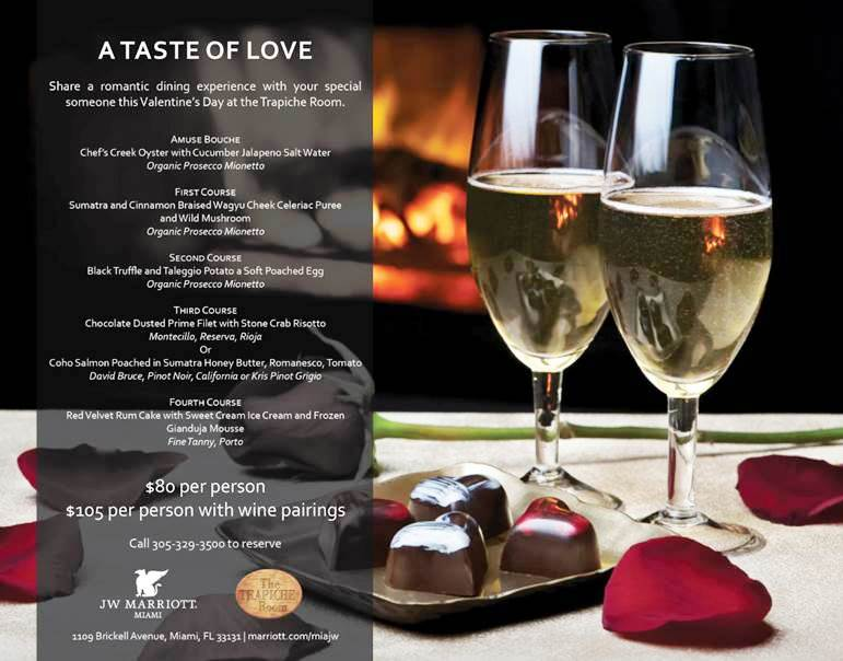 Valentine's Weekend – Miami -Trapiche Room menu vday