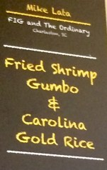 menu: fried shrimp gumbo & carolina gold rice