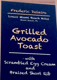menu: grilled avocado toast