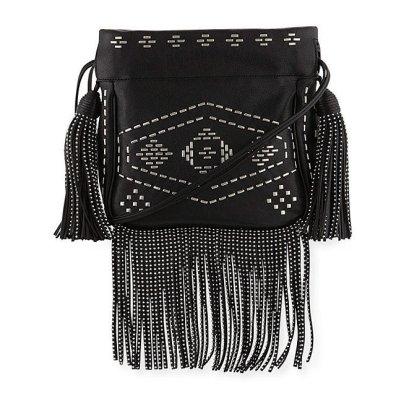 Saint Laurent Monogram Studded Fringe Bucket Bag