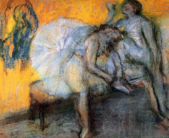 Edgar Degas, Two Dancers Resting I (okoli leta 1874)