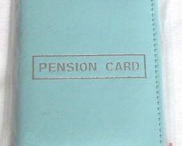 blue pension card holder
