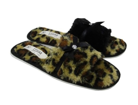 Ladies Open Toe Mule Slippers, Animal Print Slippers, Womens mule slippers, Slippers with sole
