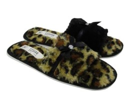 Ladies Open Toe Mule Slippers, Animal Print Slippers, Womens mule slippers, Slippers with sole
