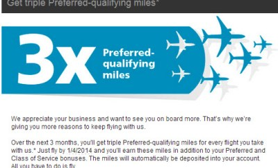 US Airways 3x PQM Offer