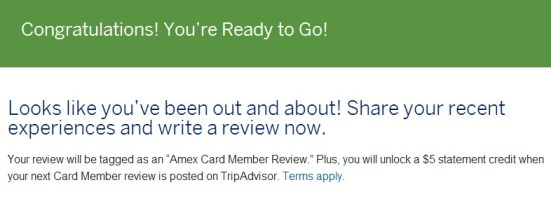 AMEX Trip Advisor 5USD credit