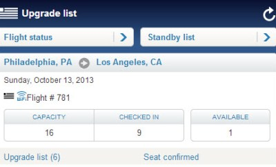 US Airways mobile website finding upgrade list