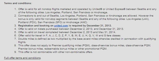 United Seattle Double miles Terms Conditions