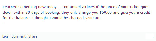United Repricing fee