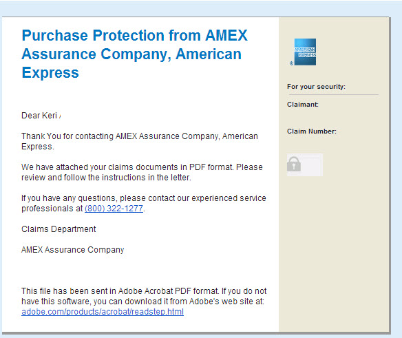 AMEX Purchase Protection Confirmation