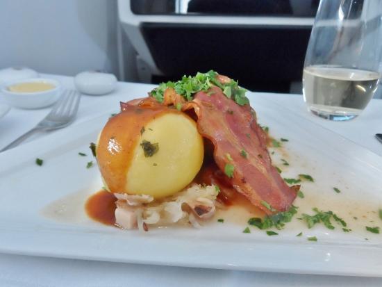 Austrian Airlines Business Class Potato Dumplings with Pork