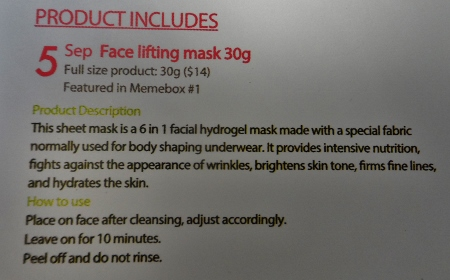 Luckybox #5 Face lifting mask directions