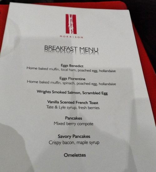 The Morrison DoubleTree Hotel Dublin Halo Breakfast Menu
