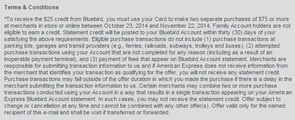 AMEX Bluebird $25 offer terms conditions