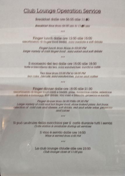 MXP Sheraton Malpensa Club Lounge schedule