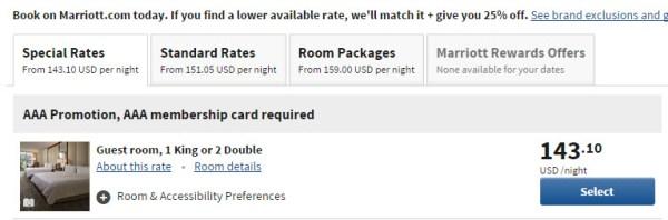 Marriott AAA rate comparison