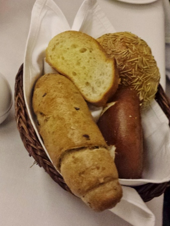 Cathay Pacific First Class JFK YVR Dinner bread basket