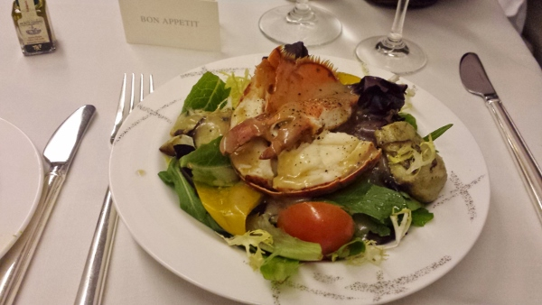 Cathay Pacific First Class JFK YVR Dinner mesclun salad lobster