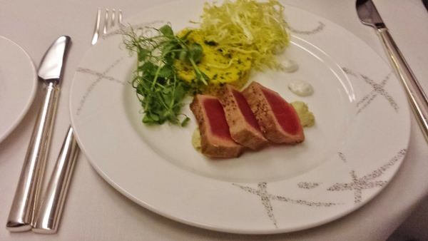 Cathay Pacific First Class JFK YVR Dinner seared tuna